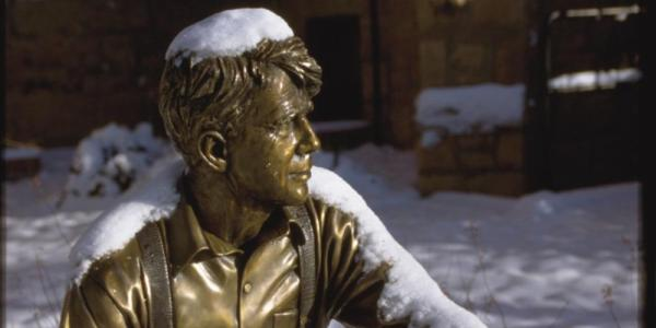 Robert Frost Statue in the Snow