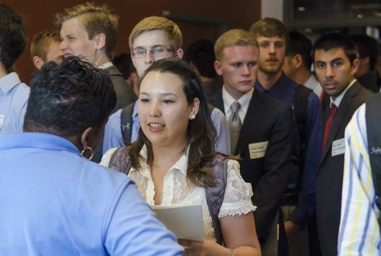 Students in line at career fair