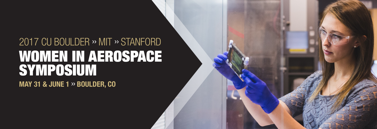 Women in Aerospace Symposium Header with a student working in BioServe Space Technologies