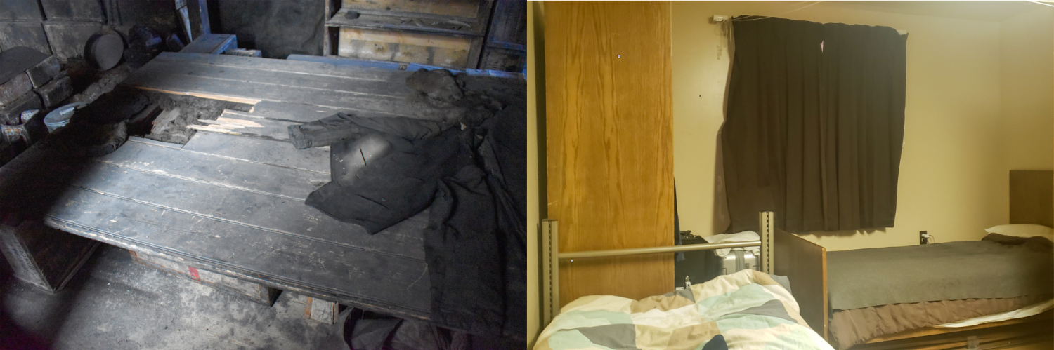 The bed we saw inside the Discovery Hut vs. the accommodations we sleep in today.