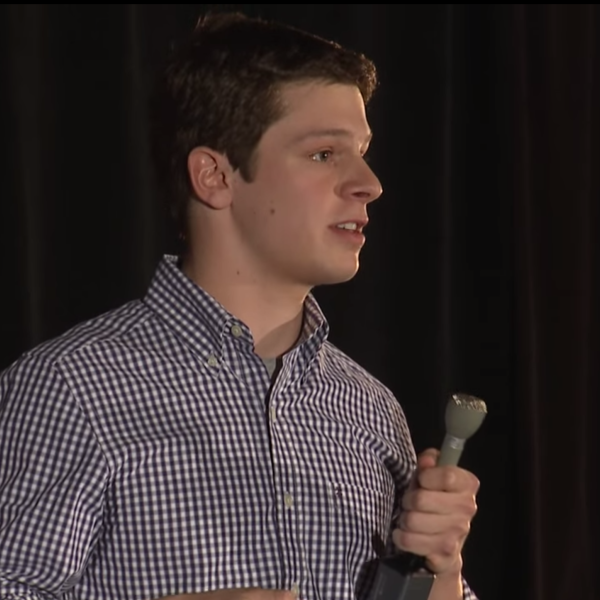 Matthieu delivering a talk during CU TEDx 2014