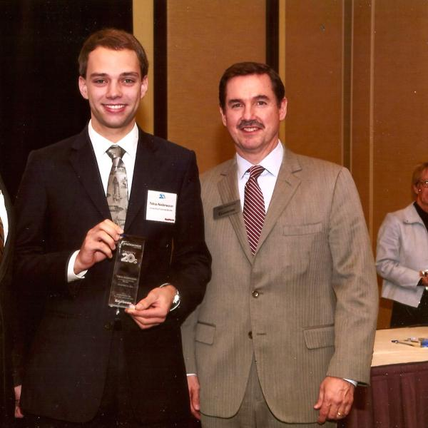 Tobias winning a 2015 Aviation Week Twenty20s award