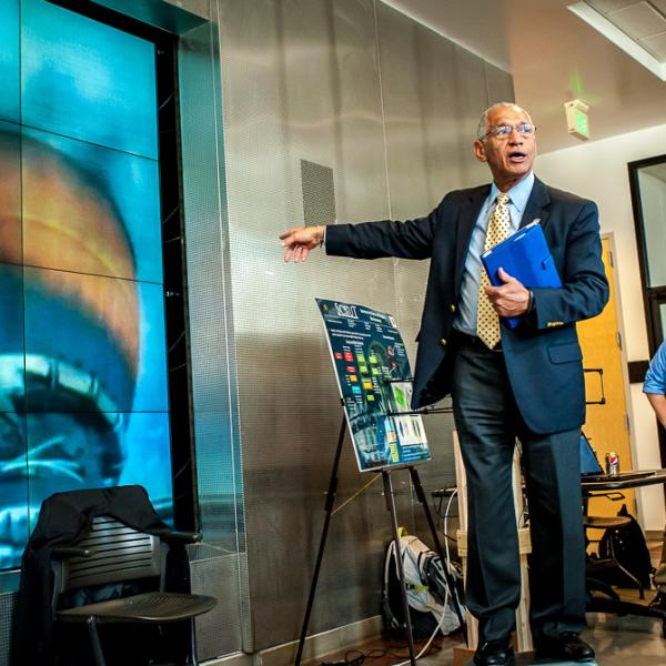 NASA Administrator Charles Bolden describes the launch process during the live viewing of  CU/LMCO ALL-STAR project launch