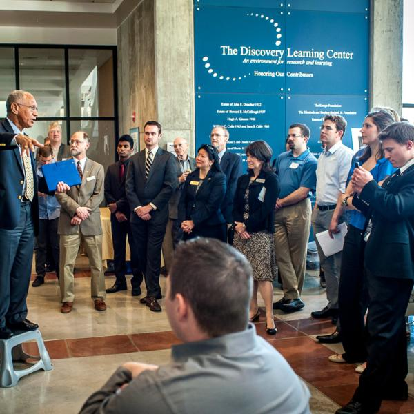 NASA Administrator Charles Bolden addresses AES chair, faculty, students and audience