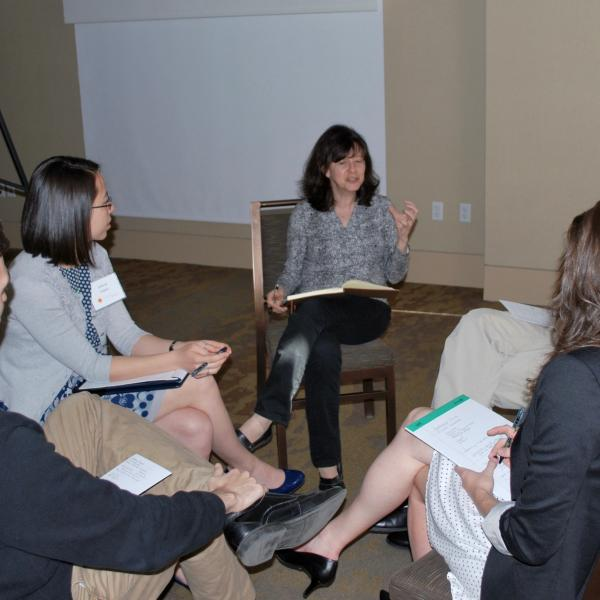Penny Axelrad leading a discussion