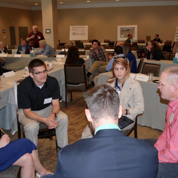 HP Schaub leading a discussion.