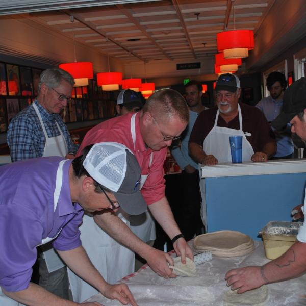 Participants made theirr own pizzas.