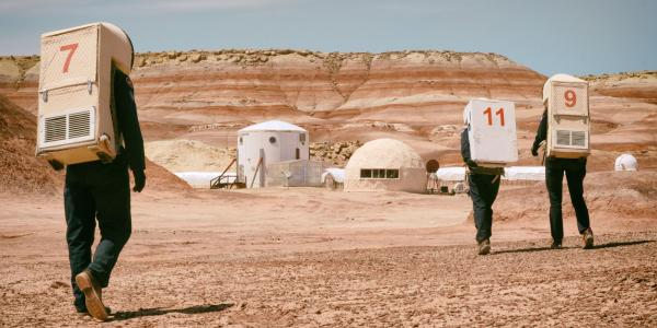 Astronauts on an EVA at the Mars Desert Research Station