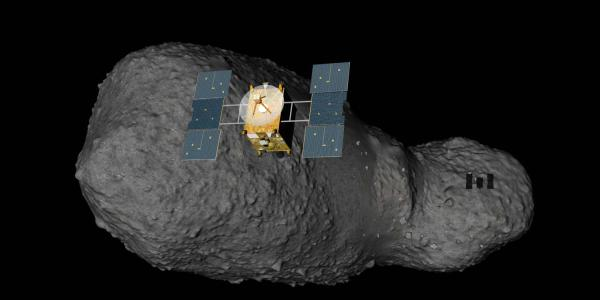 A rendering of a space probe approaching an asteroid.
