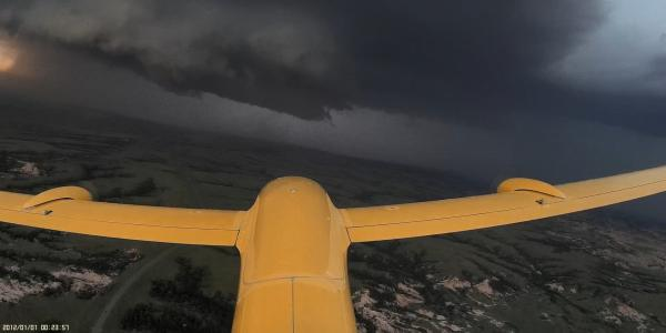 A UAV flying in stormy weather