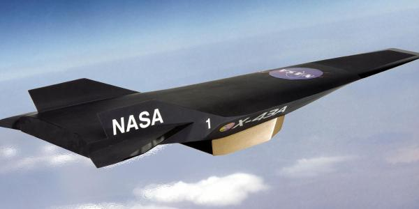 Artist's depiction of NASA's X-43A aircraft.
