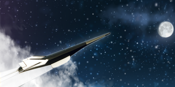 Rendering of a hypersonic space vehicle.