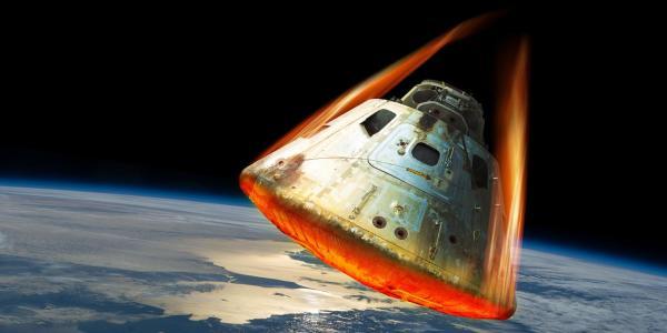Rendering of a space capsule reentering the atmosphere.