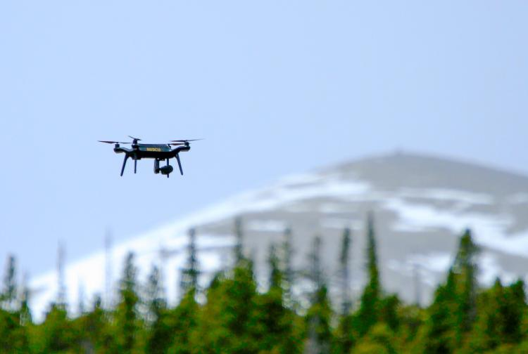 A quadcopter flying.