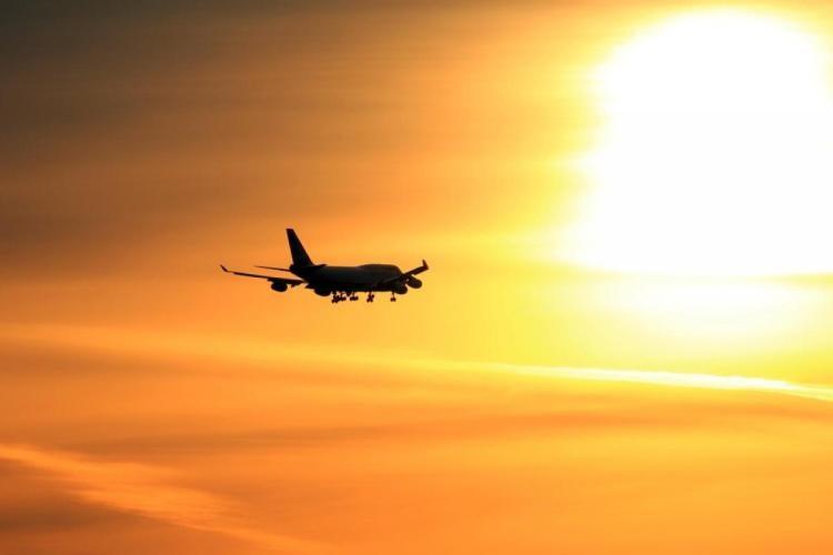 Commercial plane in flight.