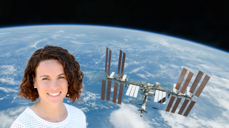 Allie Anderson montage with the International Space Station in the background.