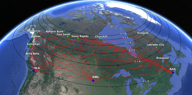 Map of Canada showing prospective radio receiver sites.