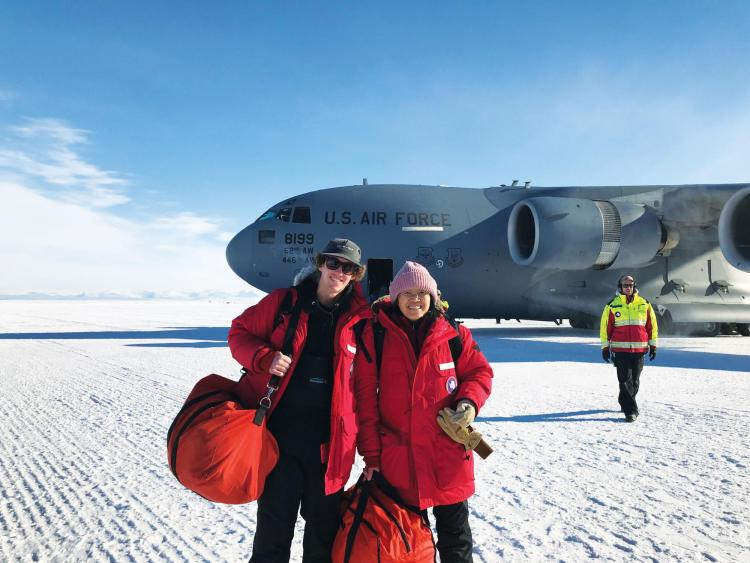 Chu with PhD student Ian Geraghty in Antarctica in 2019.