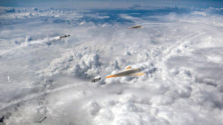 Bullet-shaped interceptors defend the United States against attacking hypersonic weapons in an artist's concept. Such defenses remain hypothetical. DARPA