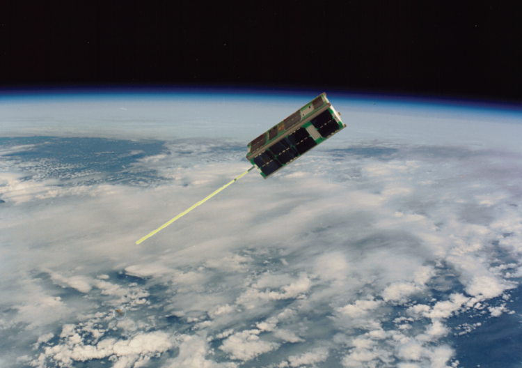 Rendering of the CSSWE CubeSat in orbit.