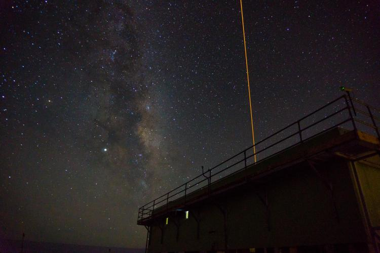 Lidar lab is located in Antarctica New Zealand's building at Arrival Heights near McMurdo. The orange laser beam is the sodium lidar at a wavelength of 589 nm.