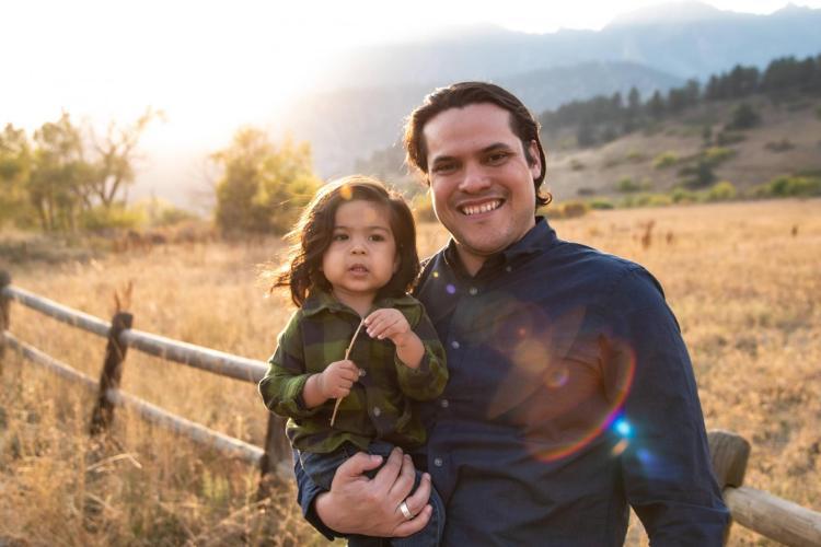 Josh Barrio with his son.