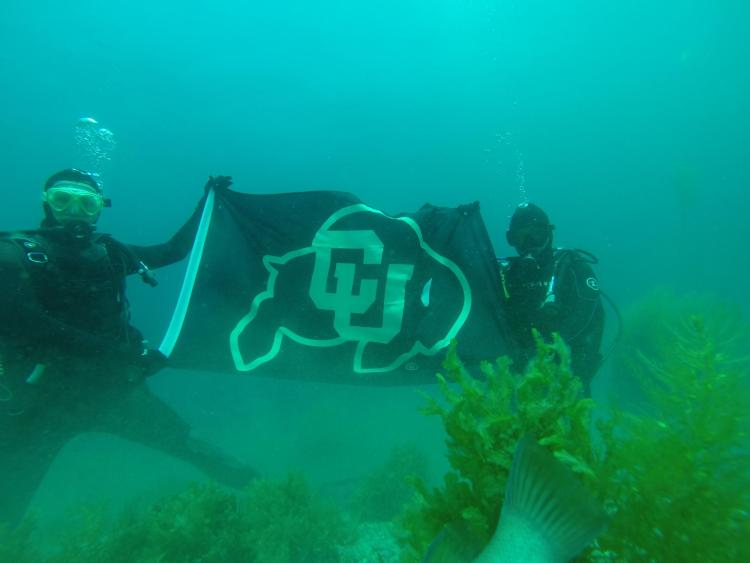 Bishop scuba diving with Jason Gallmeyer (ElecEngr BS '19)