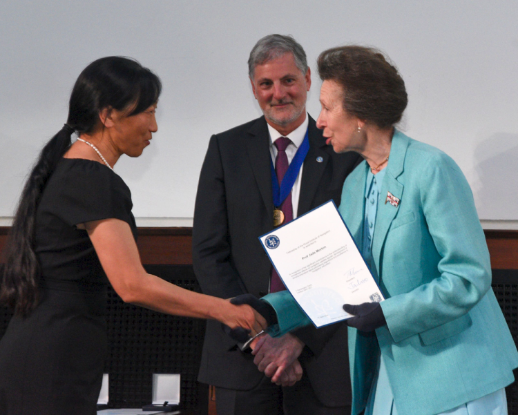 Jade Morton with RIN President Prof Terry Moore and Princess Royal Highness Anne for RIN Fellowship