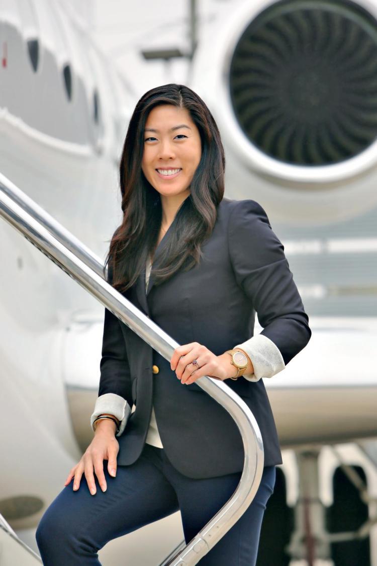 Jen Uchida by a G600 jet.