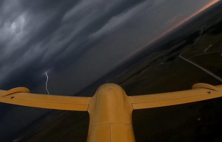 A fixed wing drone flying in a supercell.