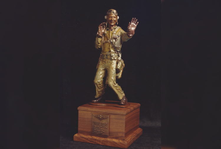 Hunter's first bronze sculpture of a Marine Corps soldier.