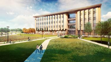 Aerospace building south exterior rendering