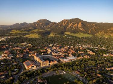 CU Boulder campus aerial photo.