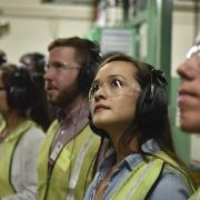 CU Boulder students tour the high-speed beverage can manufacturing facilities in Golden during Ball Corporation Career Day, 2018. Credit: Ball Corporation