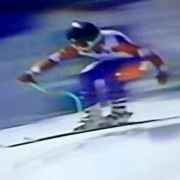 Abramowski's gold medal downhill run at the 1990 World Disabled Ski Championships.
