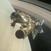Cassini visualization traveling across Saturn's rings.