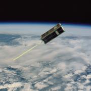 Rendering of the CSSWE CubeSat in orbit.