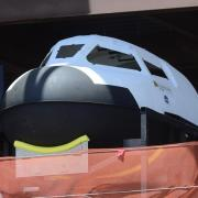 A mockup of the Dreamchaser at the construction site.
