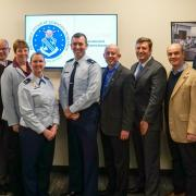 Representatives from CU Boulder meet with leaders of the Air Force Office of Scientific Research, Col. Michelle Ewy and Col. Jason Mello (center).