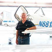 Jim Voss with his plane.