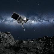 Artist's depiction of the OSIRIS-REx spacecraft.