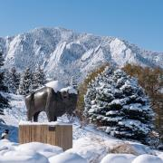 The Flatirons with snow.
