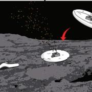Illustration of robot landing and moving on an asteroid.