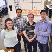 Colorado Space Grant Consortium undergraduates heading for NASA this week to present a new spacecraft design for moving cargo from Earth orbit to the moon and Mars are, from left to right, Olivia Zanoni, Gerardo Pulido, Gabriel Walker and Justin Norman