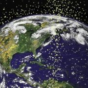 Visualization of satellites in orbit around Earth. (Credit: NASA)