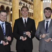 Markus Geiss, Trevor Bennett, and Thomas Green holding their awards.