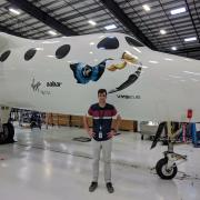 Matthew St. Clair with SpaceShipTwo.