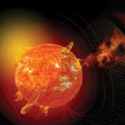 Rendering of solar storms