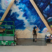 Painting magnificant murals in CU Boulder's new aerospace building
