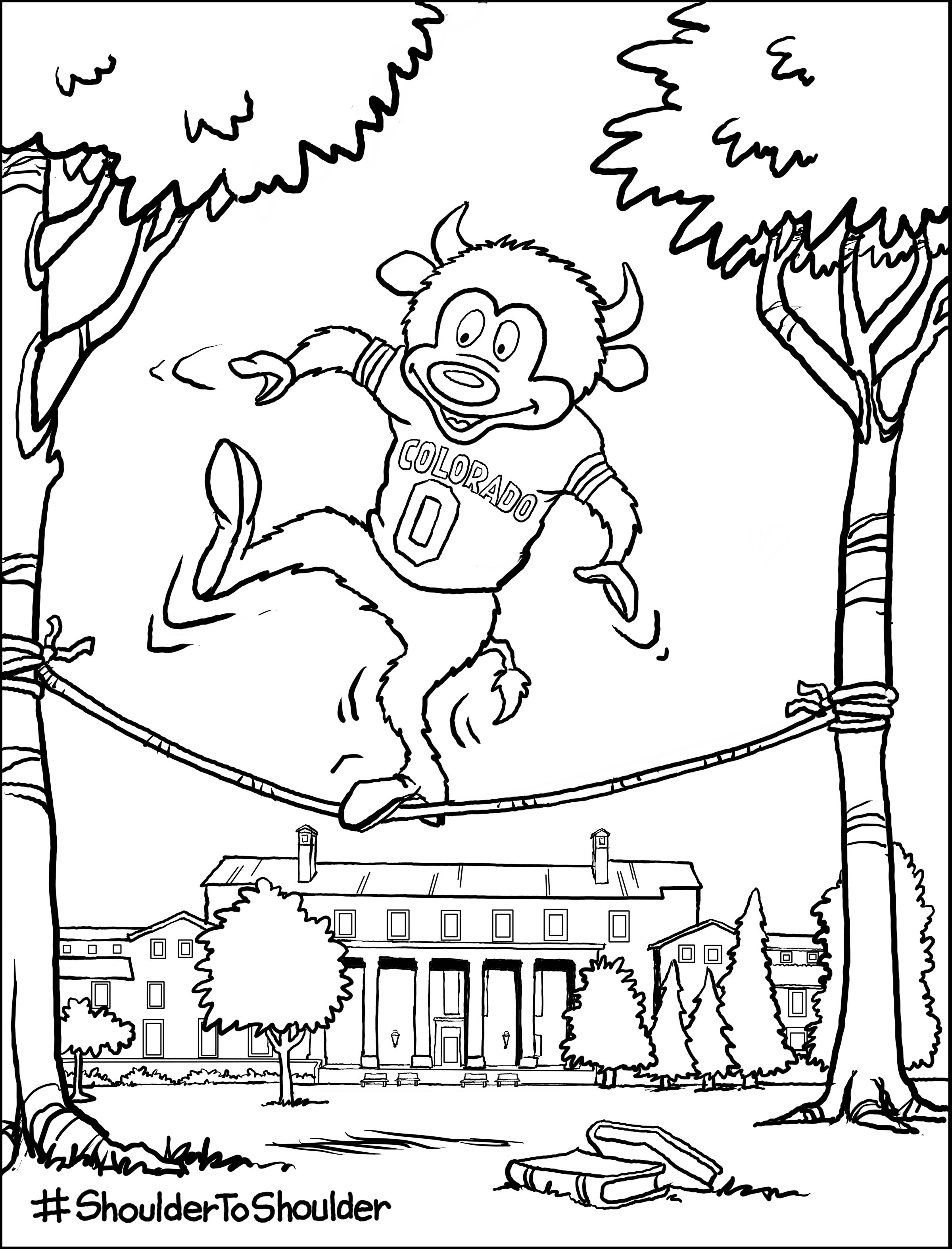 coloring page of CU Boulder mascot Chip slacklining in front of Norlin library